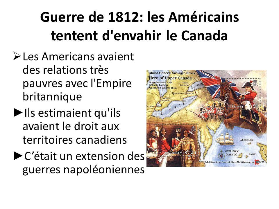 Guerre de 1812: les Américains tentent d'envahir le Canada  Les Americans avaient des relations très pauvres avec l'Empire britannique ► Ils estimaie