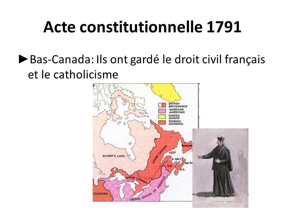 Acte constitutionnelle 1791 ► Bas-Canada: Ils ont gardé le droit civil français et le catholicisme