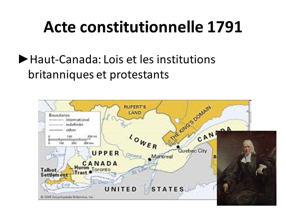 Acte constitutionnelle 1791 ► Haut-Canada: Lois et les institutions britanniques et protestants