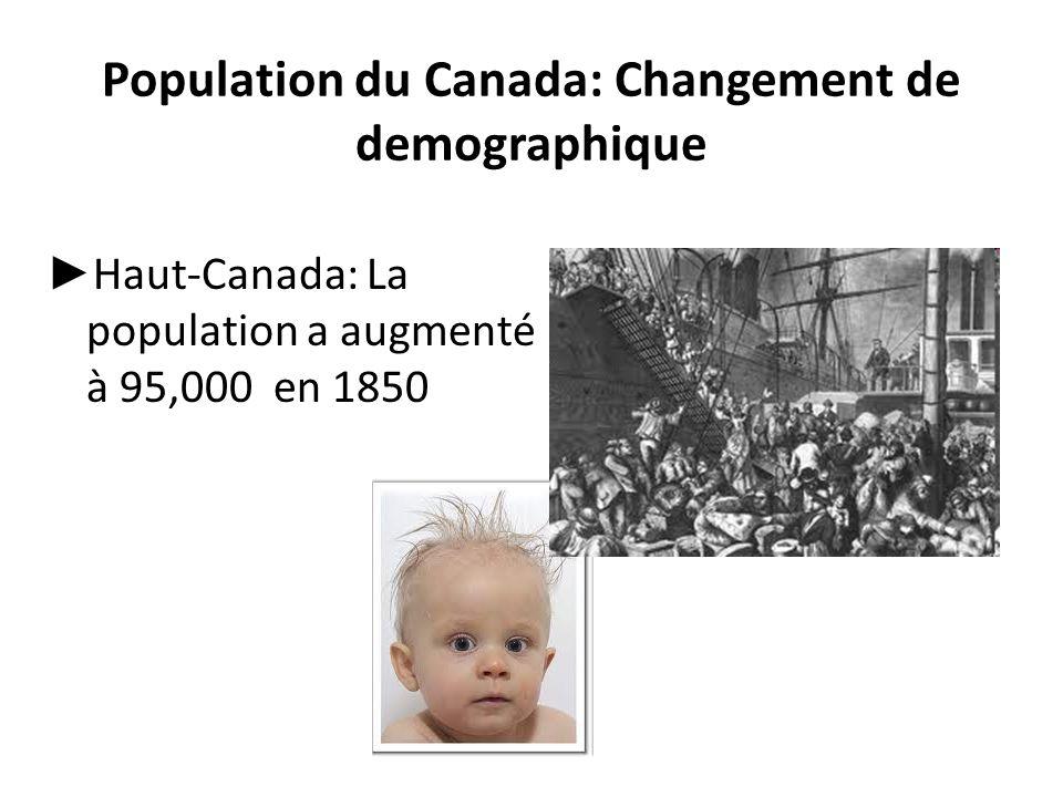 Population du Canada: Changement de demographique ► Haut-Canada: La population a augmenté à 95,000 en 1850