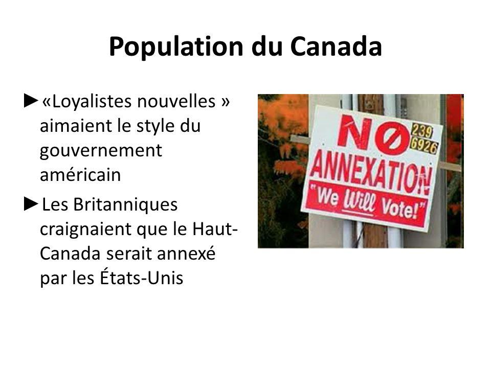 Population du Canada ► «Loyalistes nouvelles » aimaient le style du gouvernement américain ► Les Britanniques craignaient que le Haut- Canada serait a