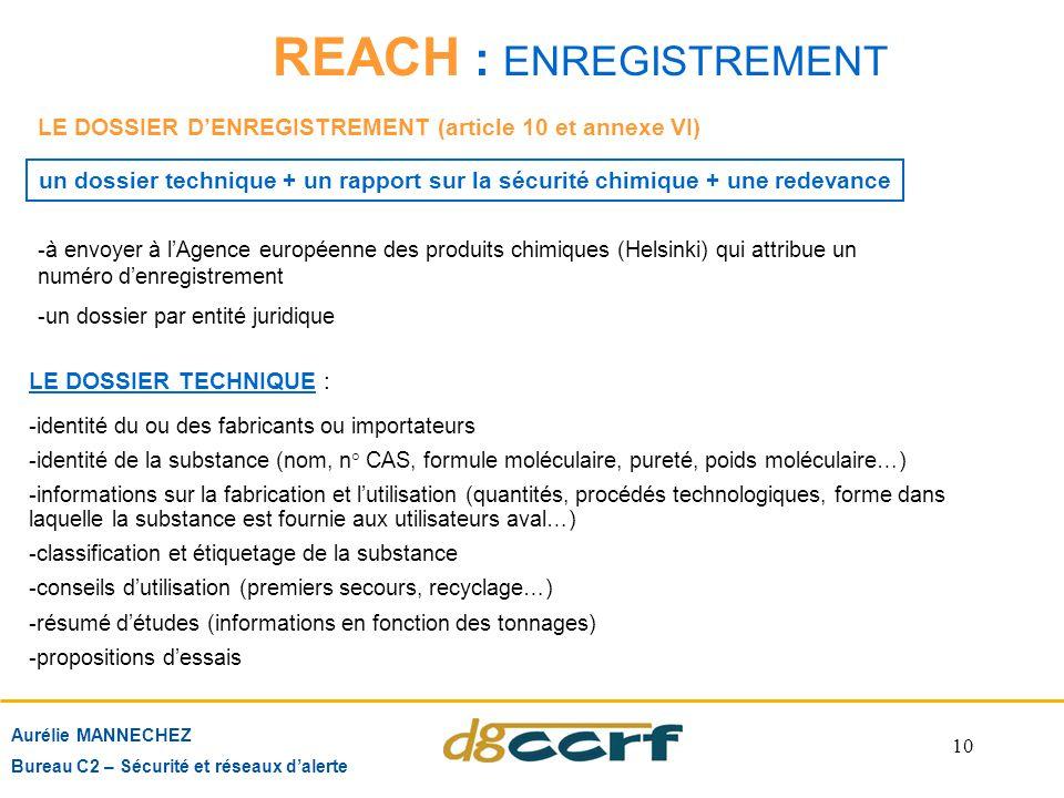 10 REACH : ENREGISTREMENT Aurélie MANNECHEZ Bureau C2 – Sécurité et réseaux d'alerte LE DOSSIER D'ENREGISTREMENT (article 10 et annexe VI) LE DOSSIER