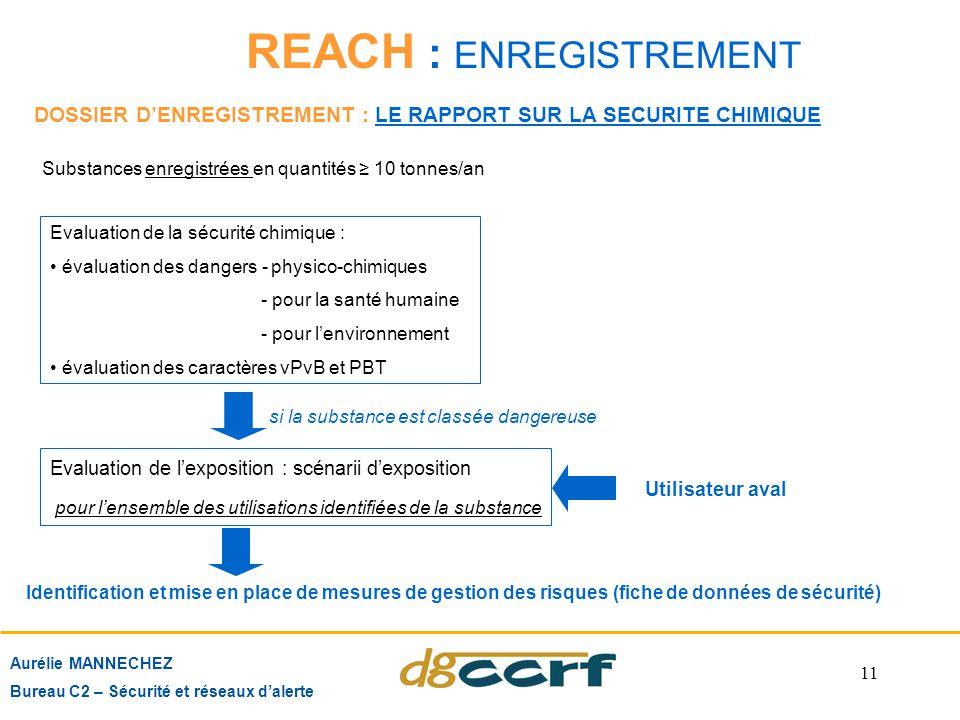 11 REACH : ENREGISTREMENT Aurélie MANNECHEZ Bureau C2 – Sécurité et réseaux d'alerte Evaluation de la sécurité chimique : évaluation des dangers - phy