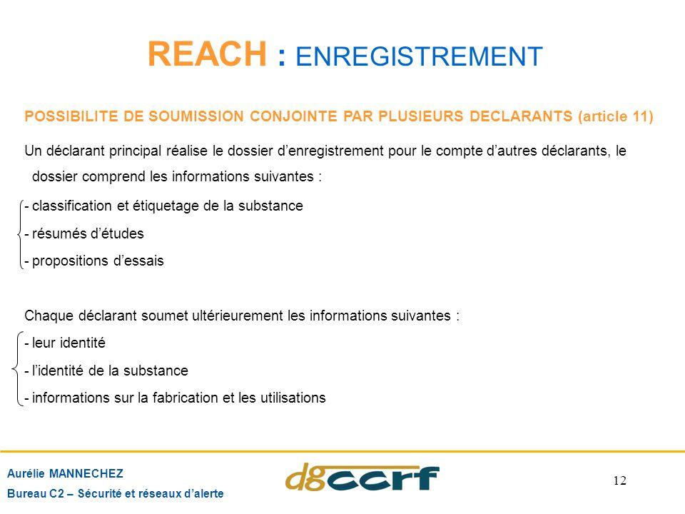 12 REACH : ENREGISTREMENT Aurélie MANNECHEZ Bureau C2 – Sécurité et réseaux d'alerte POSSIBILITE DE SOUMISSION CONJOINTE PAR PLUSIEURS DECLARANTS (art