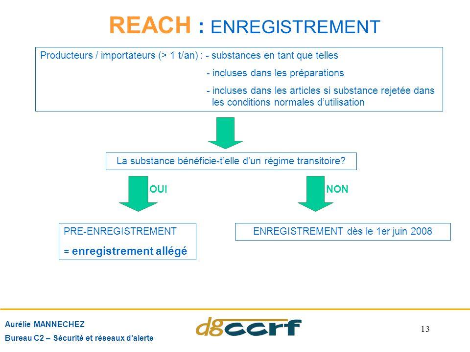 13 REACH : ENREGISTREMENT Aurélie MANNECHEZ Bureau C2 – Sécurité et réseaux d'alerte Producteurs / importateurs (> 1 t/an) : - substances en tant que