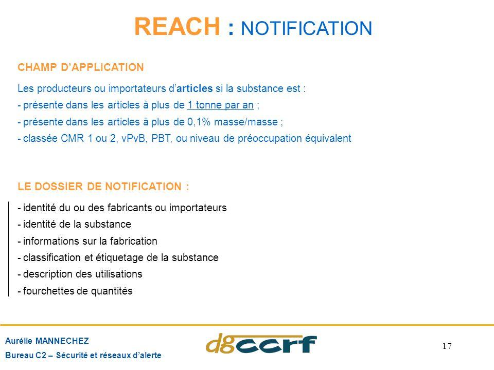 17 REACH : NOTIFICATION Aurélie MANNECHEZ Bureau C2 – Sécurité et réseaux d'alerte LE DOSSIER DE NOTIFICATION : -identité du ou des fabricants ou impo