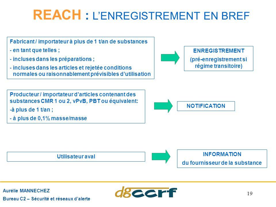 19 REACH : L'ENREGISTREMENT EN BREF Aurélie MANNECHEZ Bureau C2 – Sécurité et réseaux d'alerte Fabricant / importateur à plus de 1 t/an de substances