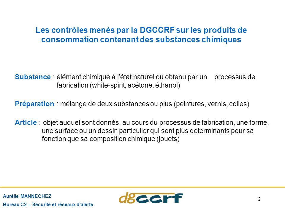 2 Aurélie MANNECHEZ Bureau C2 – Sécurité et réseaux d'alerte Les contrôles menés par la DGCCRF sur les produits de consommation contenant des substanc