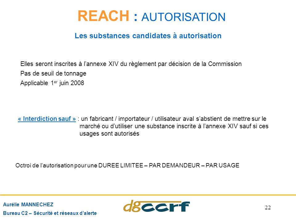 22 Aurélie MANNECHEZ Bureau C2 – Sécurité et réseaux d'alerte REACH : AUTORISATION Les substances candidates à autorisation Elles seront inscrites à l
