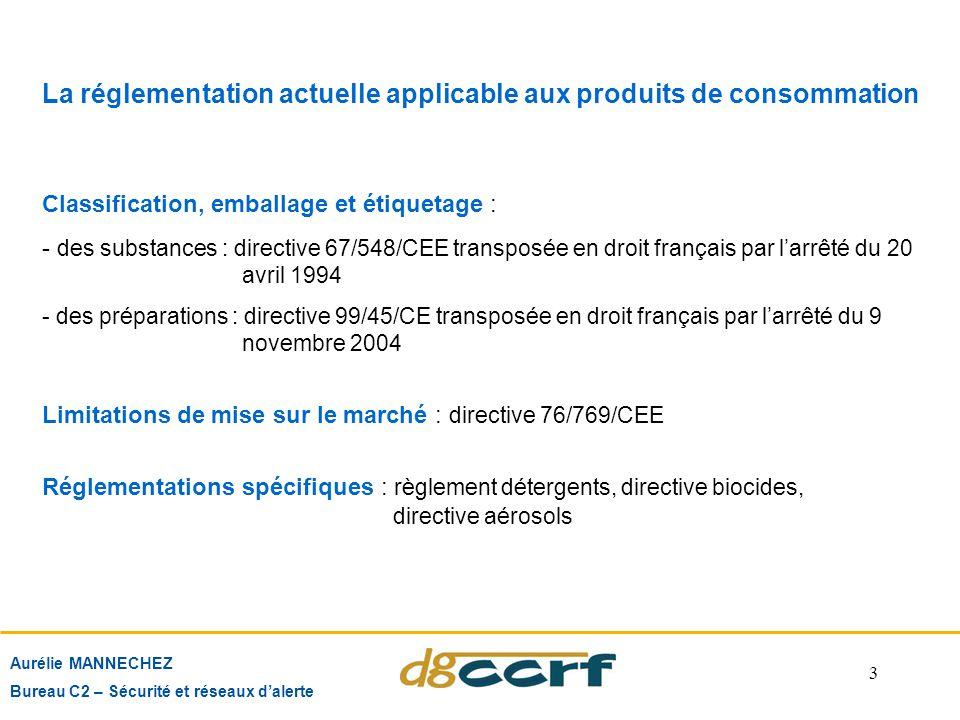 3 Aurélie MANNECHEZ Bureau C2 – Sécurité et réseaux d'alerte La réglementation actuelle applicable aux produits de consommation Classification, emball