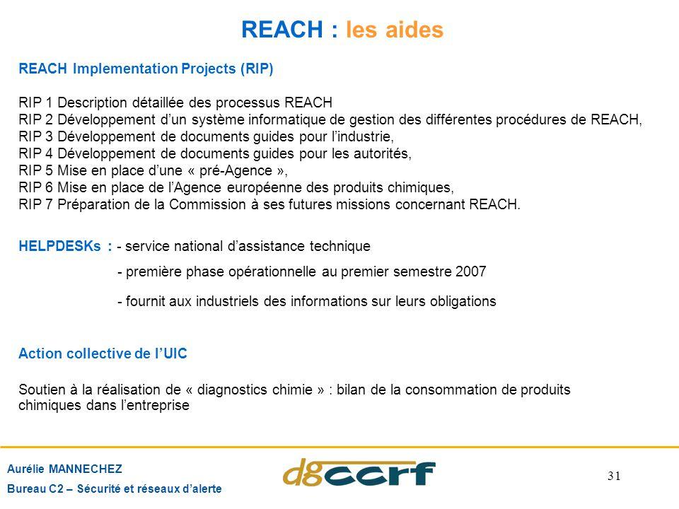31 REACH : les aides REACH Implementation Projects (RIP) RIP 1 Description détaillée des processus REACH RIP 2 Développement d'un système informatique
