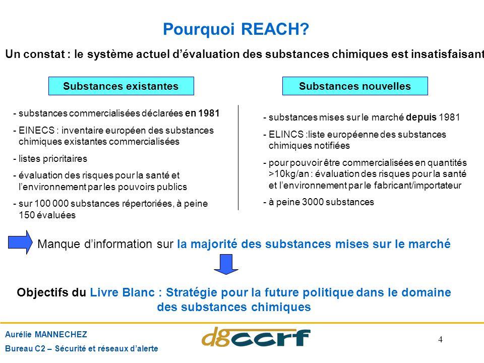 4 Pourquoi REACH? Aurélie MANNECHEZ Bureau C2 – Sécurité et réseaux d'alerte Un constat : le système actuel d'évaluation des substances chimiques est