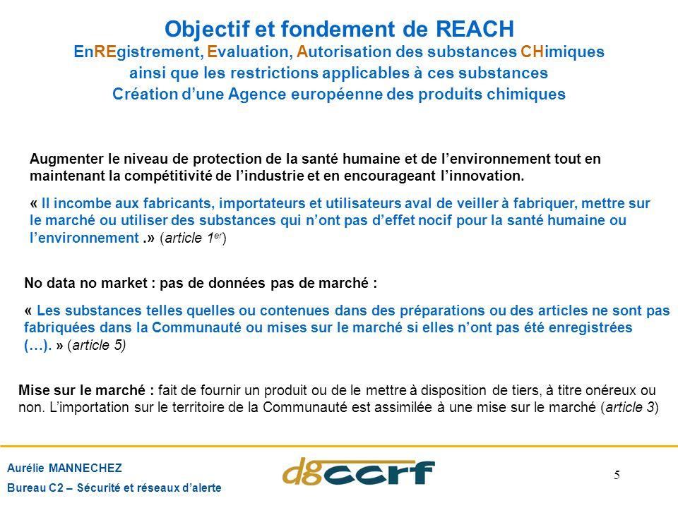 5 Objectif et fondement de REACH Aurélie MANNECHEZ Bureau C2 – Sécurité et réseaux d'alerte Augmenter le niveau de protection de la santé humaine et d