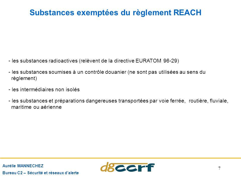 7 Substances exemptées du règlement REACH Aurélie MANNECHEZ Bureau C2 – Sécurité et réseaux d'alerte - les substances radioactives (relèvent de la dir