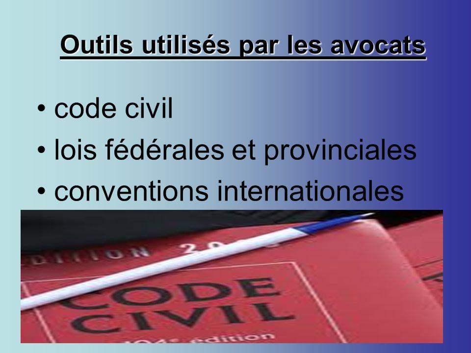 Outils utilisés par les avocats Outils utilisés par les avocats code civil lois fédérales et provinciales conventions internationales