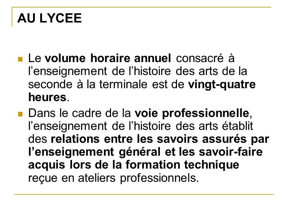 AU LYCEE Le volume horaire annuel consacré à l'enseignement de l'histoire des arts de la seconde à la terminale est de vingt-quatre heures. Dans le ca
