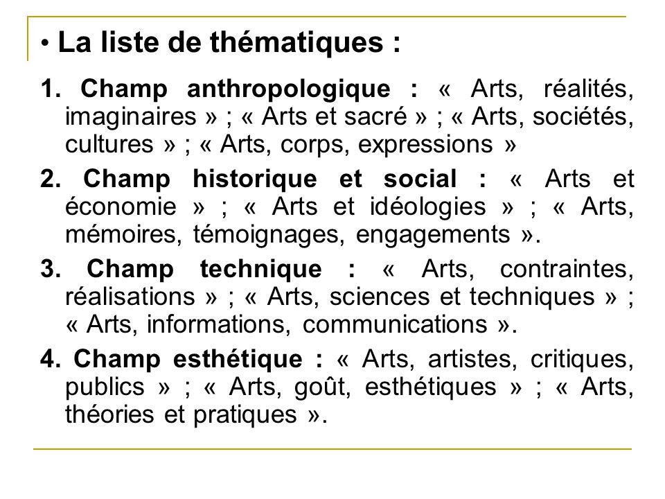 La liste de thématiques : 1. Champ anthropologique : « Arts, réalités, imaginaires » ; « Arts et sacré » ; « Arts, sociétés, cultures » ; « Arts, corp