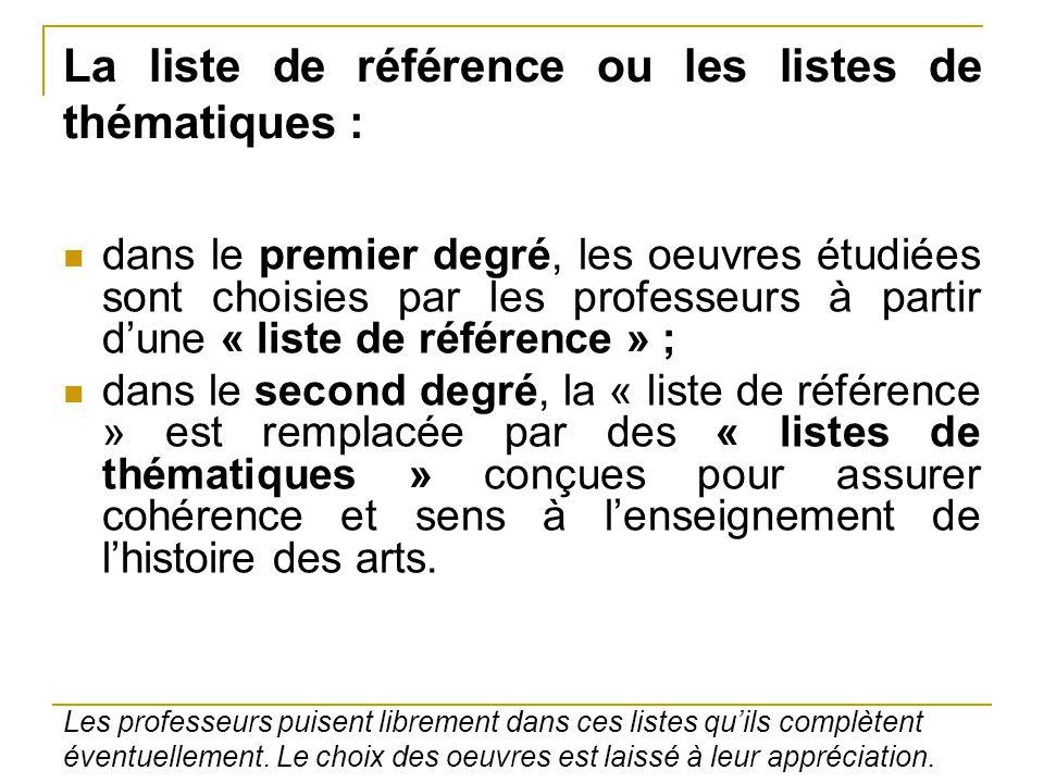 La liste de référence ou les listes de thématiques : dans le premier degré, les oeuvres étudiées sont choisies par les professeurs à partir d'une « li