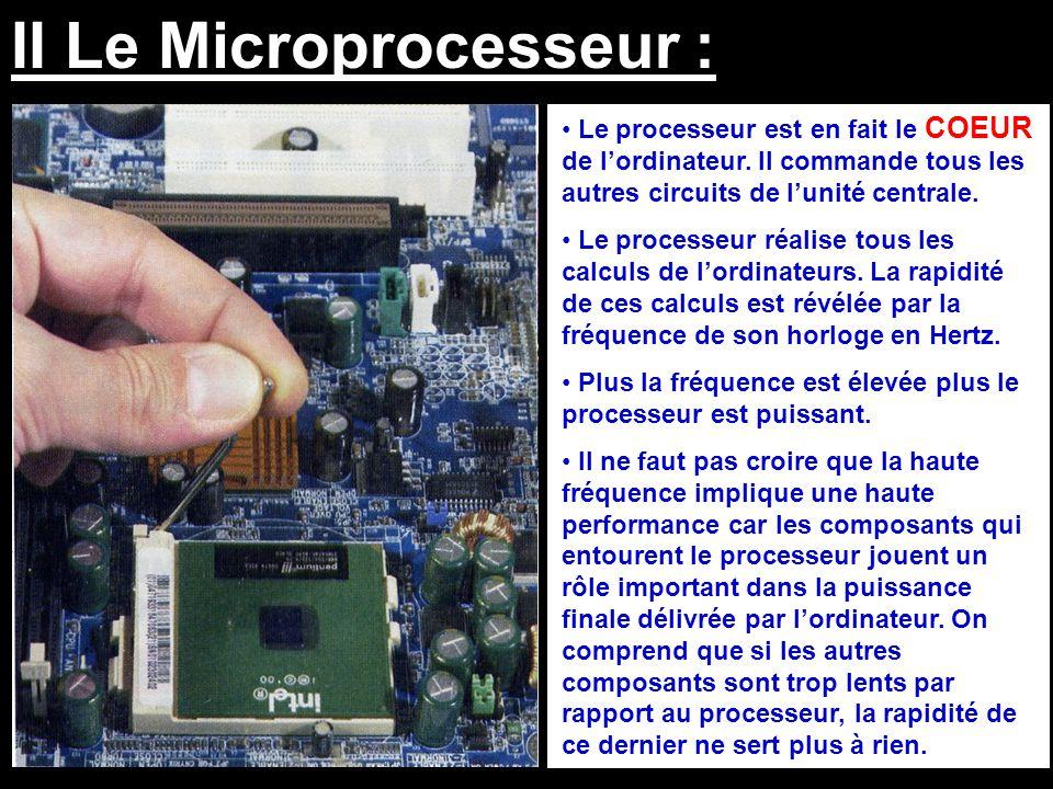 II Le Microprocesseur : Le processeur est en fait le COEUR de l'ordinateur. Il commande tous les autres circuits de l'unité centrale. Le processeur ré