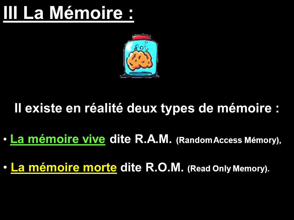 III La Mémoire : Il existe en réalité deux types de mémoire : La mémoire vive dite R.A.M. (Random Access Mémory), La mémoire morte dite R.O.M. (Read O