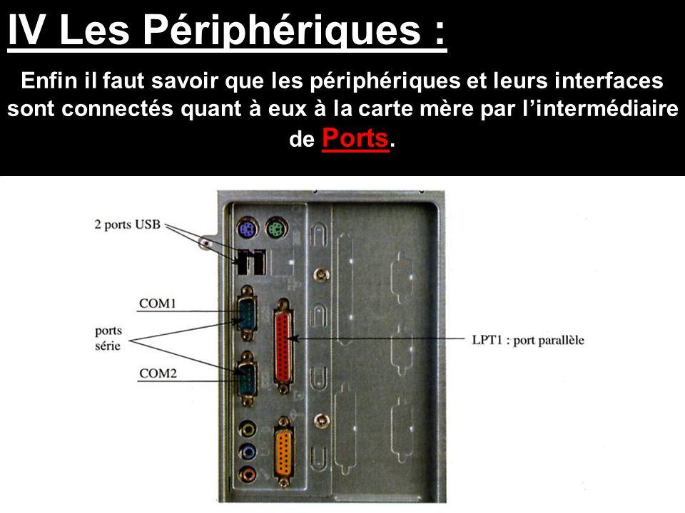 IV Les Périphériques : Enfin il faut savoir que les périphériques et leurs interfaces sont connectés quant à eux à la carte mère par l'intermédiaire d