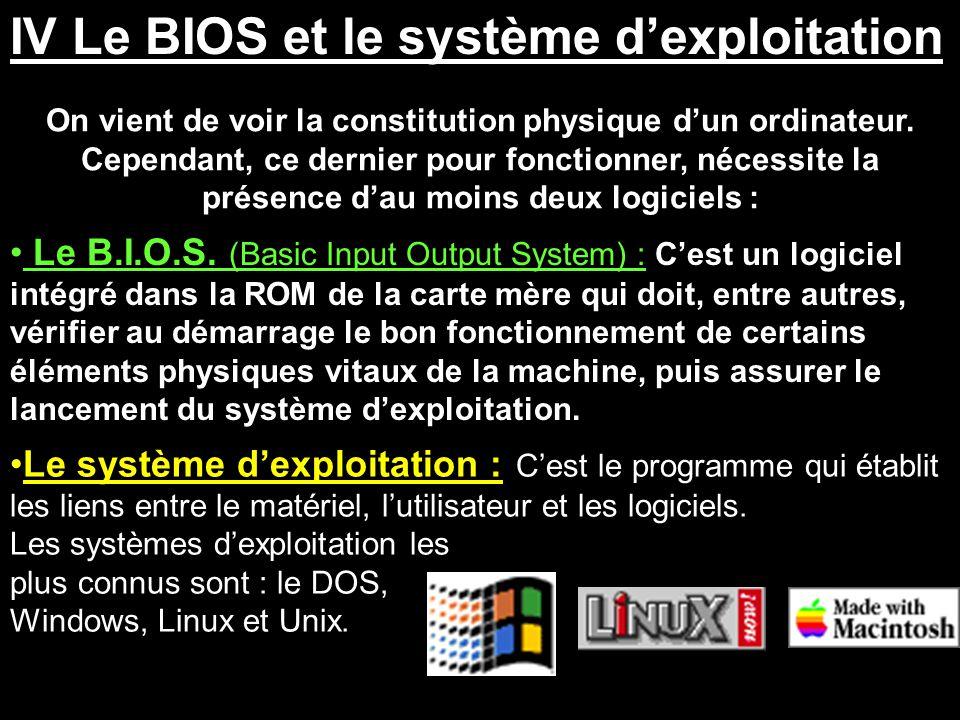 IV Le BIOS et le système d'exploitation On vient de voir la constitution physique d'un ordinateur. Cependant, ce dernier pour fonctionner, nécessite l
