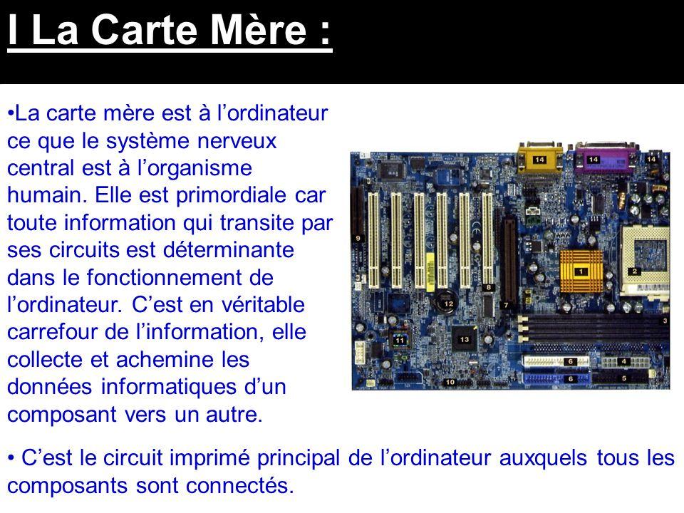 IV Les Périphériques : Enfin il faut savoir que les périphériques et leurs interfaces sont connectés quant à eux à la carte mère par l'intermédiaire de Ports.