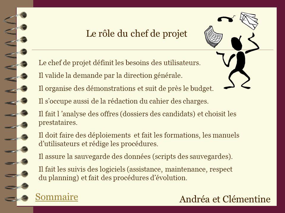 Le rôle du chef de projet Le chef de projet définit les besoins des utilisateurs.