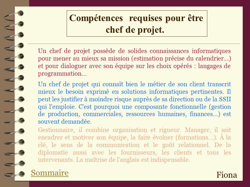 Compétences requises pour être chef de projet.Gestionnaire, il combine organisation et rigueur.