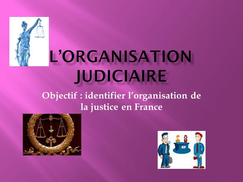 Objectif : identifier l'organisation de la justice en France