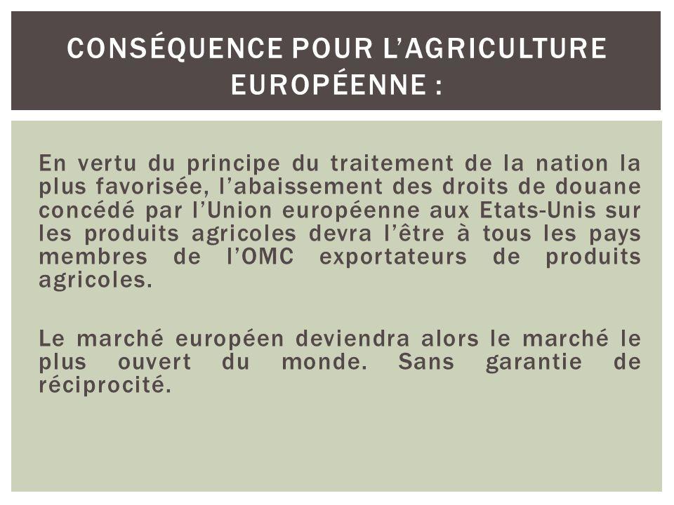 En vertu du principe du traitement de la nation la plus favorisée, l'abaissement des droits de douane concédé par l'Union européenne aux Etats-Unis su