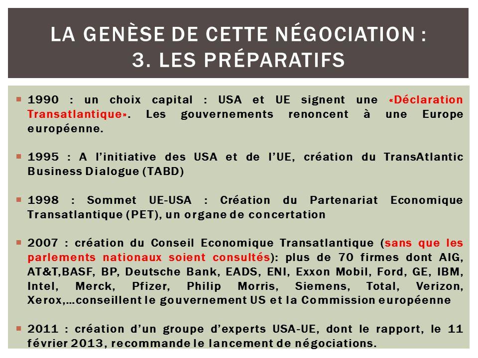  1990 : un choix capital : USA et UE signent une «Déclaration Transatlantique». Les gouvernements renoncent à une Europe européenne.  1995 : A l'ini