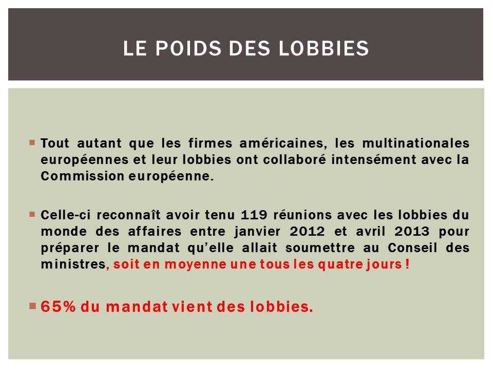  Tout autant que les firmes américaines, les multinationales européennes et leur lobbies ont collaboré intensément avec la Commission européenne.  C