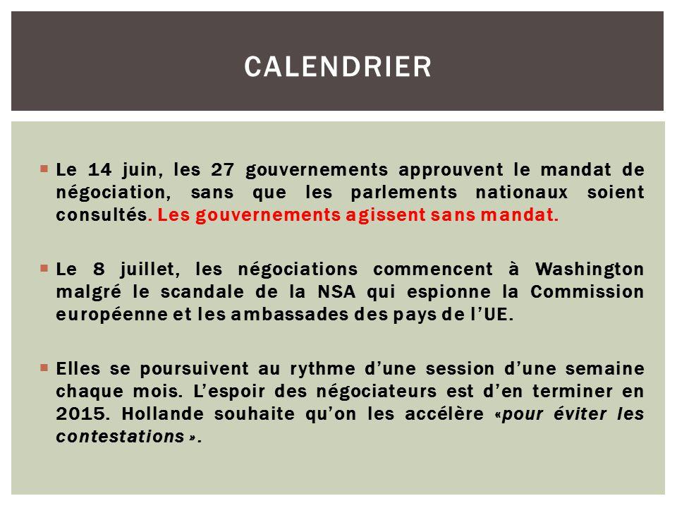  Le 14 juin, les 27 gouvernements approuvent le mandat de négociation, sans que les parlements nationaux soient consultés. Les gouvernements agissent