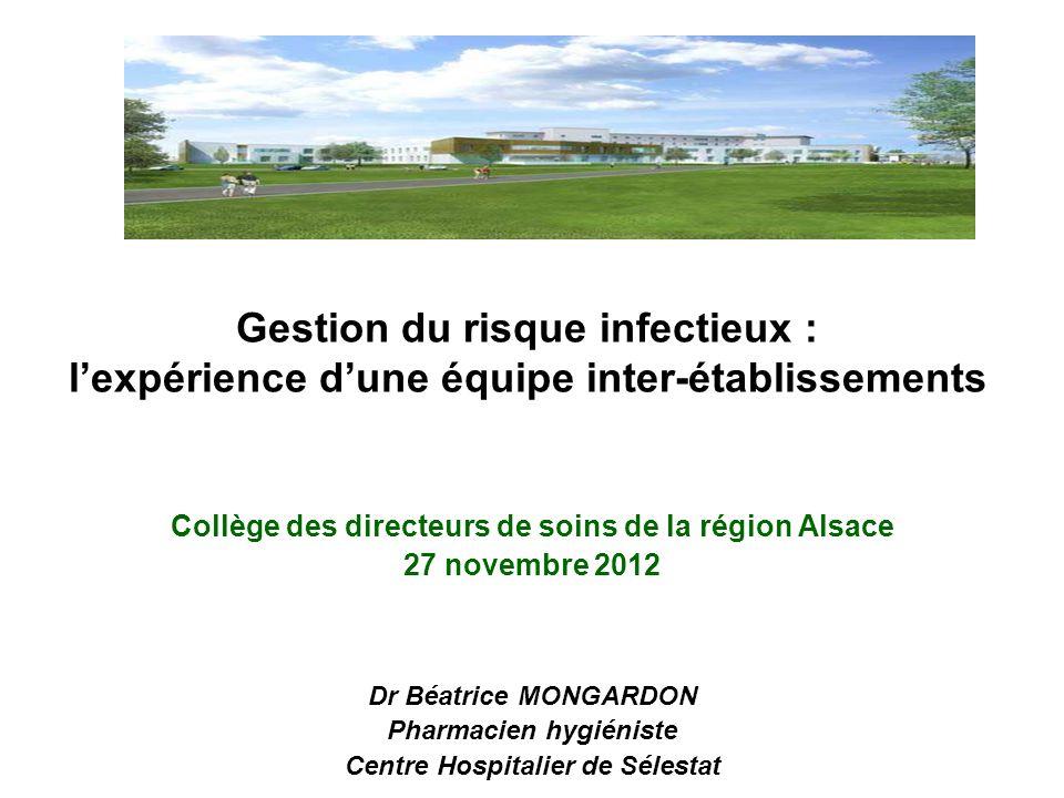 Gestion du risque infectieux : l'expérience d'une équipe inter-établissements Collège des directeurs de soins de la région Alsace 27 novembre 2012 Dr