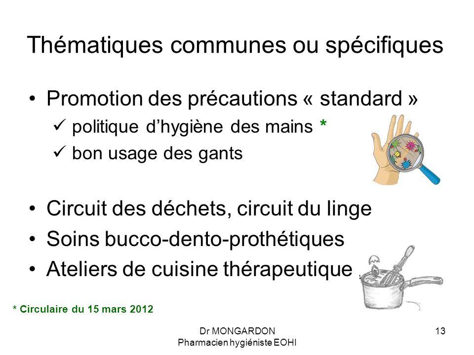 Dr MONGARDON Pharmacien hygiéniste EOHI 13 Thématiques communes ou spécifiques Promotion des précautions « standard » politique d'hygiène des mains *