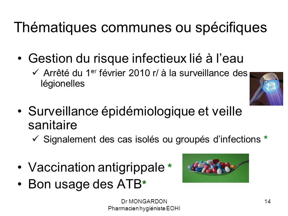 Dr MONGARDON Pharmacien hygiéniste EOHI 14 Thématiques communes ou spécifiques Gestion du risque infectieux lié à l'eau Arrêté du 1 er février 2010 r/