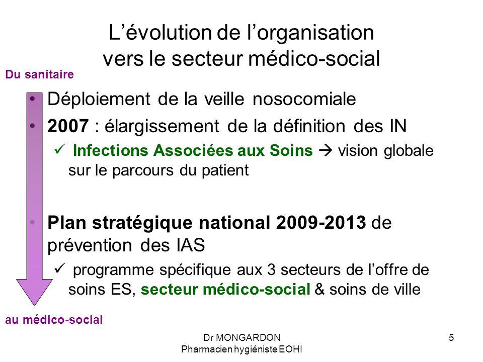 Dr MONGARDON Pharmacien hygiéniste EOHI 5 L'évolution de l'organisation vers le secteur médico-social Déploiement de la veille nosocomiale 2007 : élar