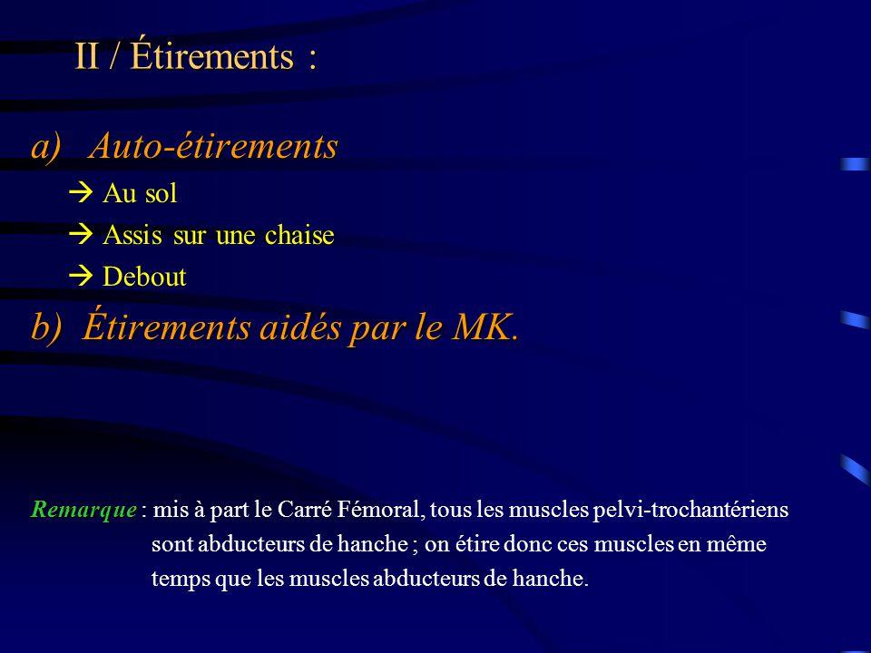 II / Étirements : a)Auto-étirements  Au sol  Assis sur une chaise  Debout b) Étirements aidés par le MK. Remarque Remarque : mis à part le Carré Fé