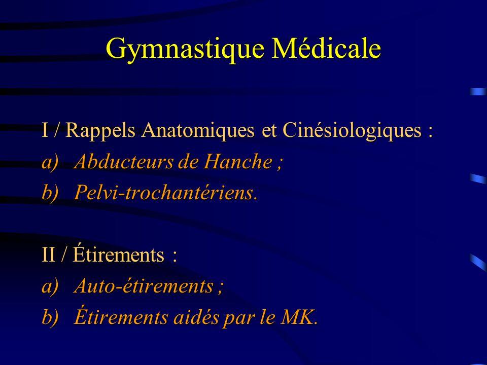 Gymnastique Médicale I / Rappels Anatomiques et Cinésiologiques : a)Abducteurs de Hanche ; b)Pelvi-trochantériens. II / Étirements : a)Auto-étirements