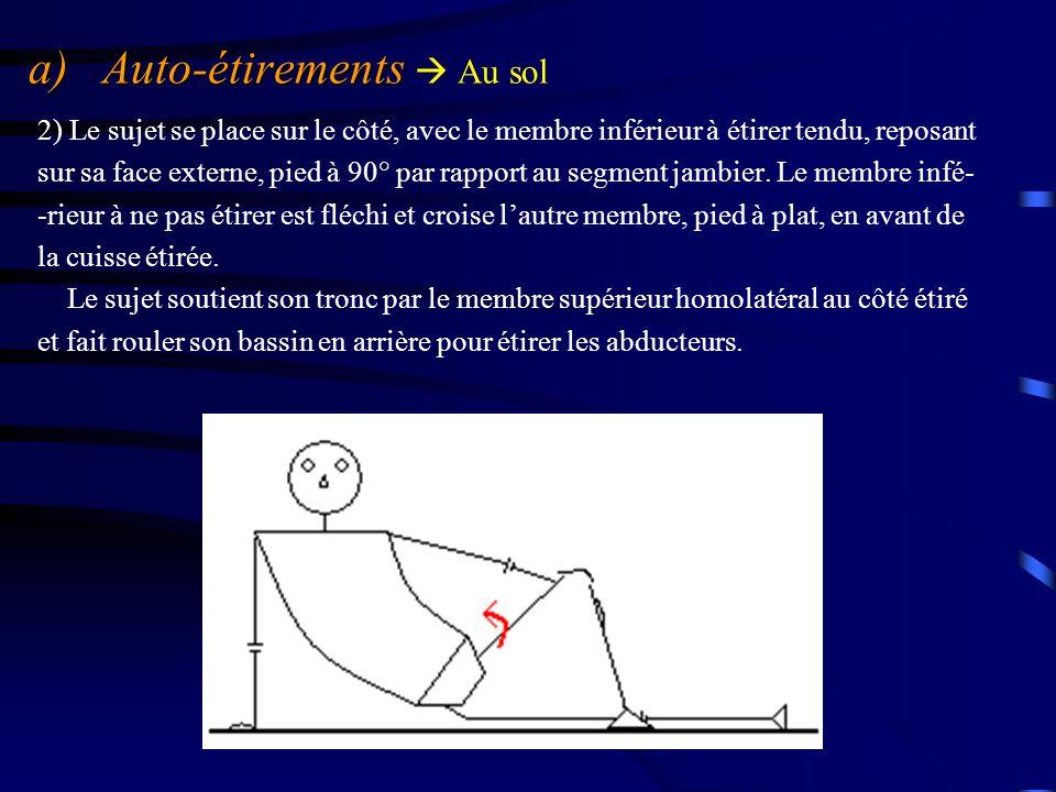 a) Auto-étirements a) Auto-étirements  Au sol 2) Le sujet se place sur le côté, avec le membre inférieur à étirer tendu, reposant sur sa face externe