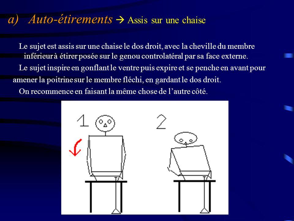 a) Auto-étirements a) Auto-étirements  Assis sur une chaise Le sujet est assis sur une chaise le dos droit, avec la cheville du membre inférieur à ét