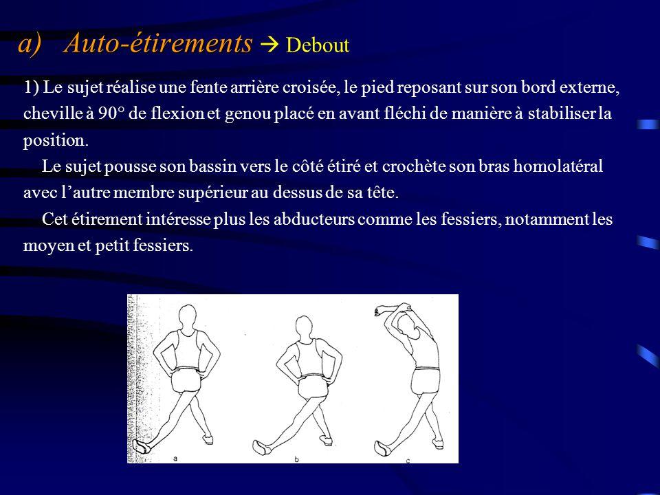 a) Auto-étirements a) Auto-étirements  Debout 1) Le sujet réalise une fente arrière croisée, le pied reposant sur son bord externe, cheville à 90° de
