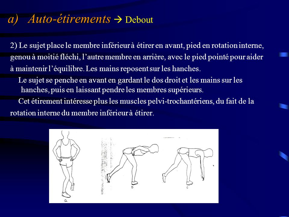 a) Auto-étirements a) Auto-étirements  Debout 2) Le sujet place le membre inférieur à étirer en avant, pied en rotation interne, genou à moitié fléch