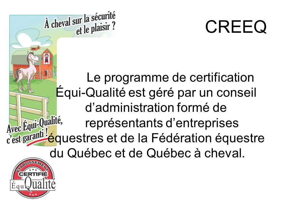 CREEQ Le programme de certification Équi-Qualité est géré par un conseil d'administration formé de représentants d'entreprises équestres et de la Fédération équestre du Québec et de Québec à cheval.