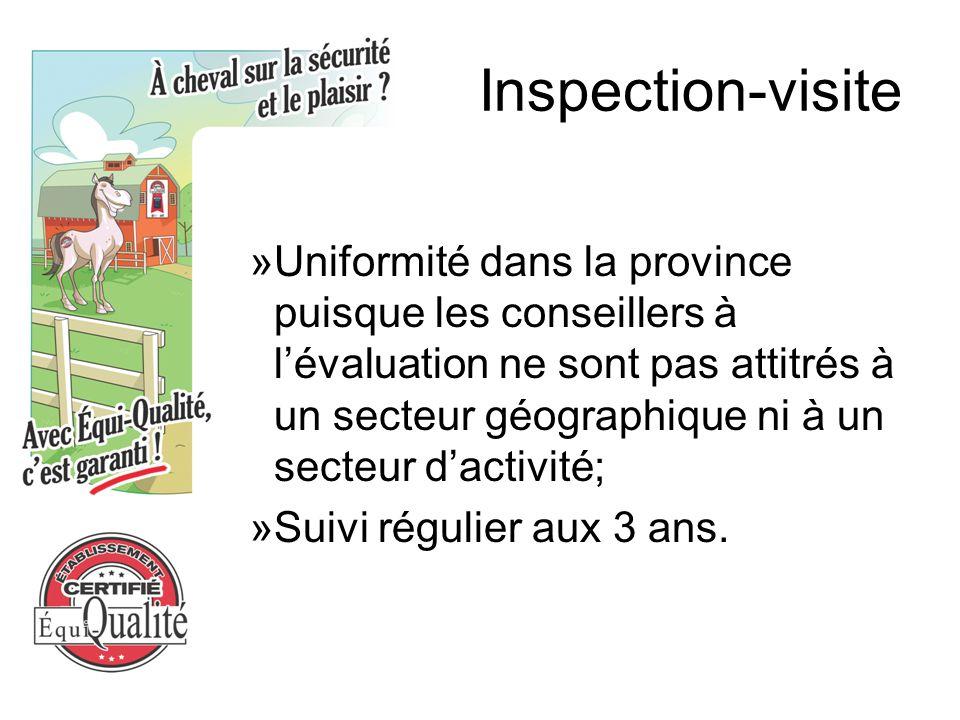 Inspection-visite »Uniformité dans la province puisque les conseillers à l'évaluation ne sont pas attitrés à un secteur géographique ni à un secteur d