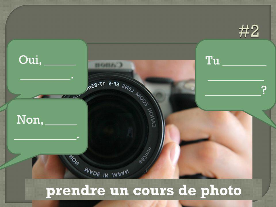 prendre un cours de photo Tu _______ _________ _________? Oui, _____ ________. Non, _____ __________.