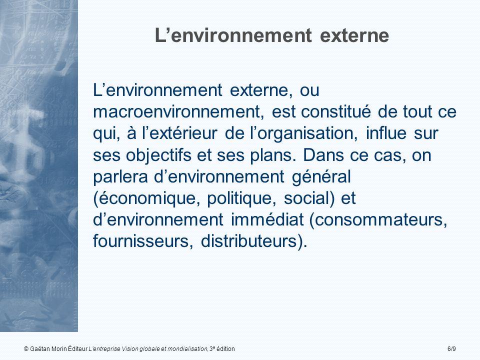 © Gaëtan Morin Éditeur L'entreprise Vision globale et mondialisation, 3 e édition6/9 L'environnement externe L'environnement externe, ou macroenvironnement, est constitué de tout ce qui, à l'extérieur de l'organisation, influe sur ses objectifs et ses plans.