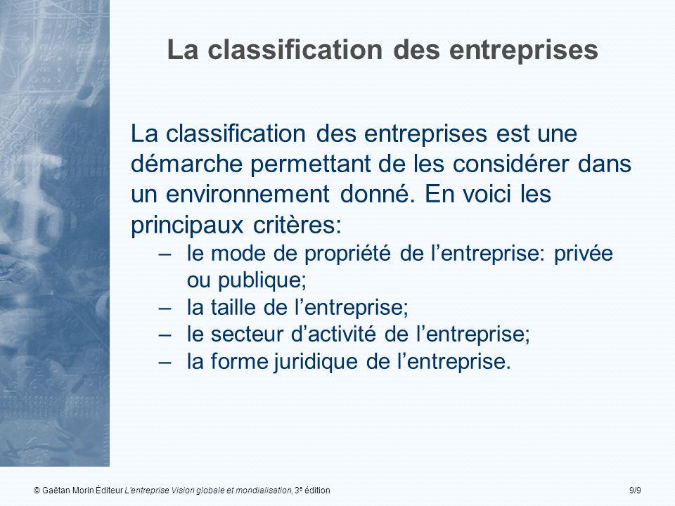 © Gaëtan Morin Éditeur L'entreprise Vision globale et mondialisation, 3 e édition9/9 La classification des entreprises La classification des entreprises est une démarche permettant de les considérer dans un environnement donné.