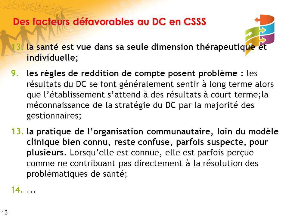 13 Des facteurs défavorables au DC en CSSS 13.la santé est vue dans sa seule dimension thérapeutique et individuelle; 9.les règles de reddition de compte posent problème : les résultats du DC se font généralement sentir à long terme alors que l'établissement s'attend à des résultats à court terme;la méconnaissance de la stratégie du DC par la majorité des gestionnaires; 13.la pratique de l'organisation communautaire, loin du modèle clinique bien connu, reste confuse, parfois suspecte, pour plusieurs.